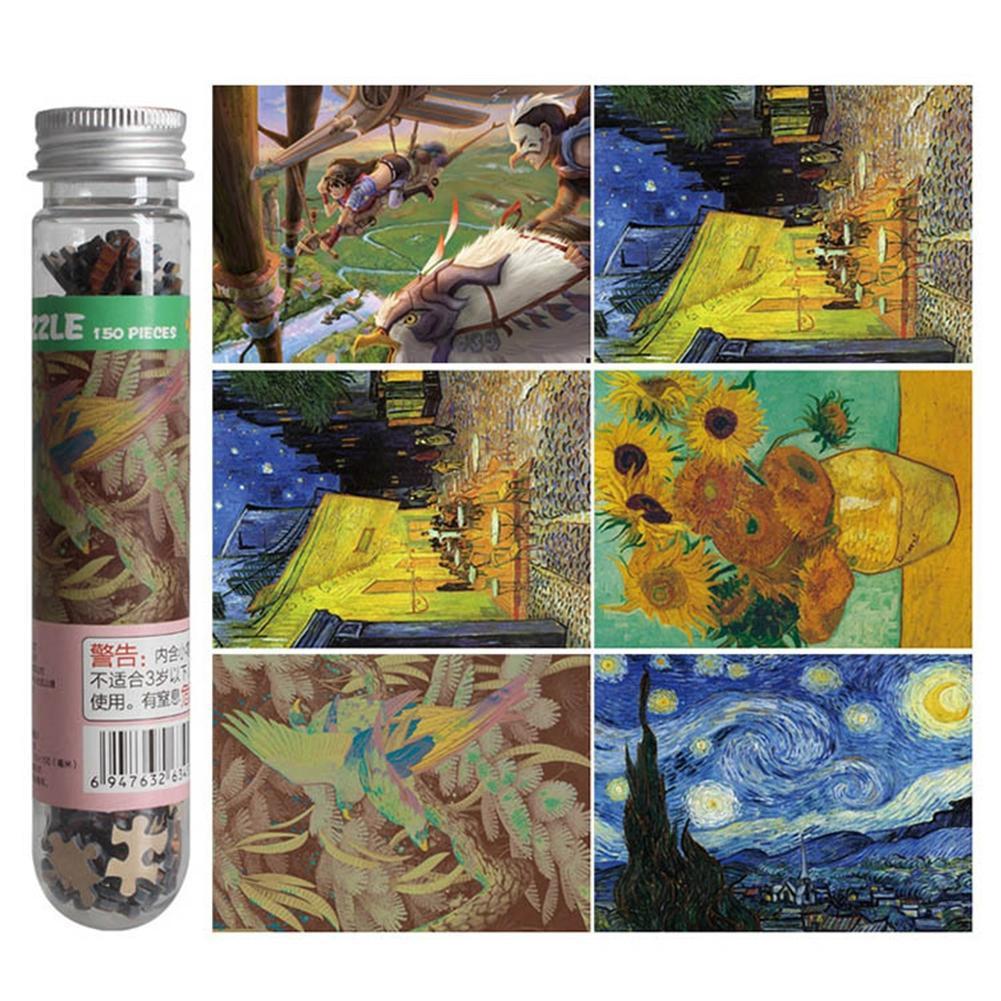 HobbyLane 150Pcs Children Adult Creative Educational Mini Jigsaw Puzzle Set With Tube Bottle Paper Painting Puzzles 10x15cm