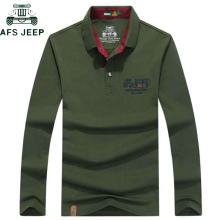 06363c1a AFS JEEP High Quality Cotton Polo Shirt Men Embroidery Breathable Long  sleeve Military polo hombre Plus