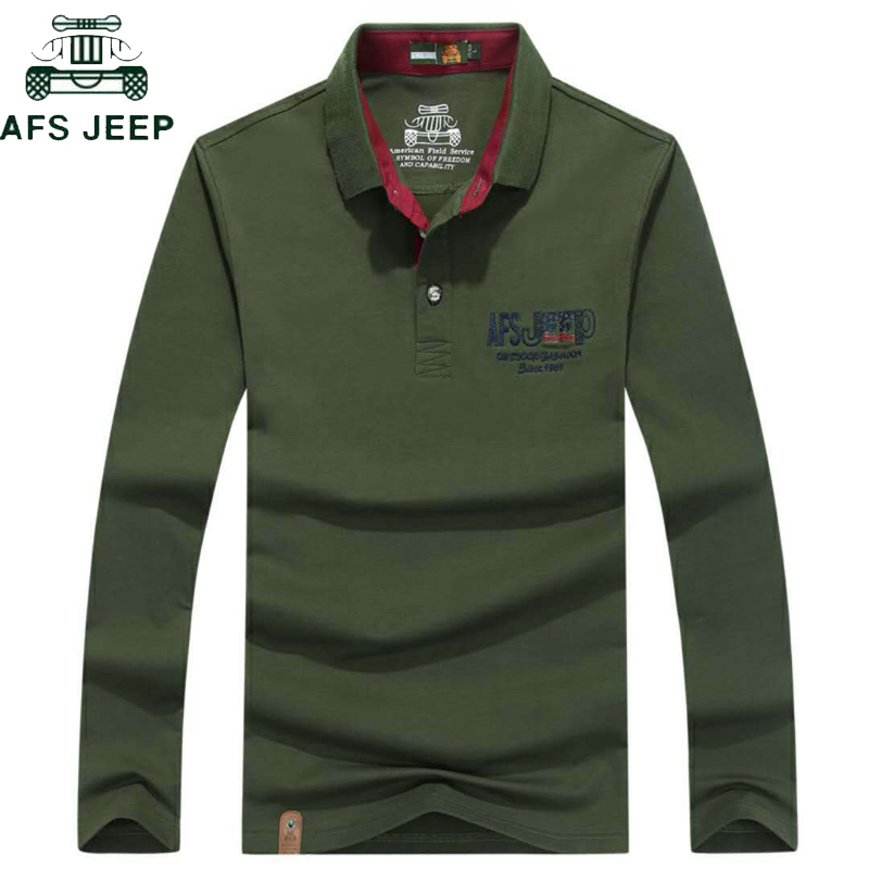 AFS JEEP High Quality Cotton   Polo   Shirt Men Embroidery Breathable Long sleeve Military   polo   hombre Plus Size 3XL Camisa   Polos