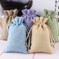 5pcs Garden Linen Fabric Jute Drawstring bags Gift package bags Natural Burlap Bags with Nylon Drawstring Reusable home decor