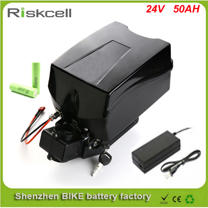 Free customes taxes  Little frog style 24v 50ah e bike battery 24v li ion battery pack 18650 with BMS+charger For Samsung cell free customs taxes high quality 48 v li ion battery pack with 2a charger and 20a bms for 48v 15ah 700w lithium battery pack