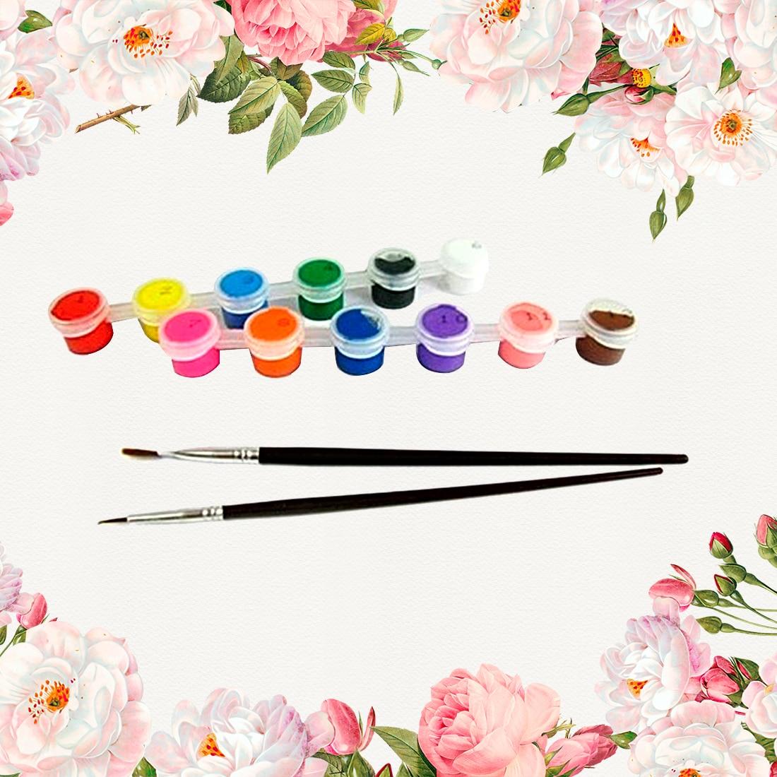 FangNymph 12 Colors With 2 Paint Blue Brushes Per Set Acrylic Paints For Oil Painting Nail Art Clothes Art Digital Random Color