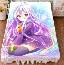 цены на Anime Bedspreads Coverlets No Game No Life Shiro Flat Bed Sheet Blanket Gifts  в интернет-магазинах