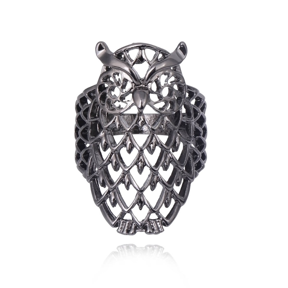 17mm Classic Creative Hollow Owl Ring Fashion Jewelry Bijoux Vintage Korean  Aros Silver Plated Crystal Couple