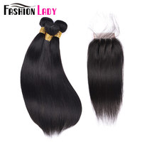 FASHION LADY Pre Colored Brazilian Hair Straight 3 Bundles 100 Human Hair With 4x4 Free Part