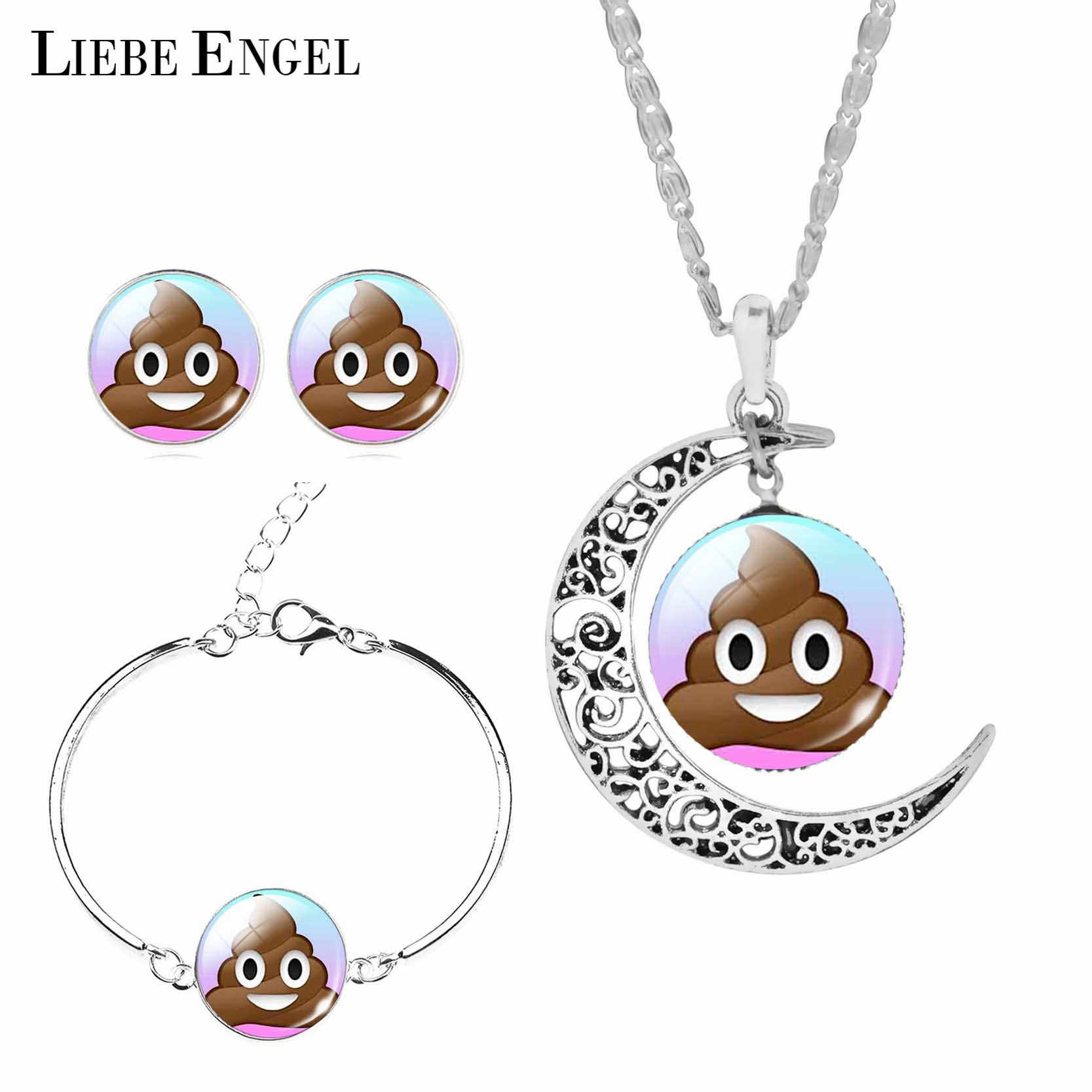 LIEBE ENGEL New Arrival Poop Emoji Jewelry Sets Earrings Bracelet Moon Statement Necklace Sets Vintage Silver Color For Women