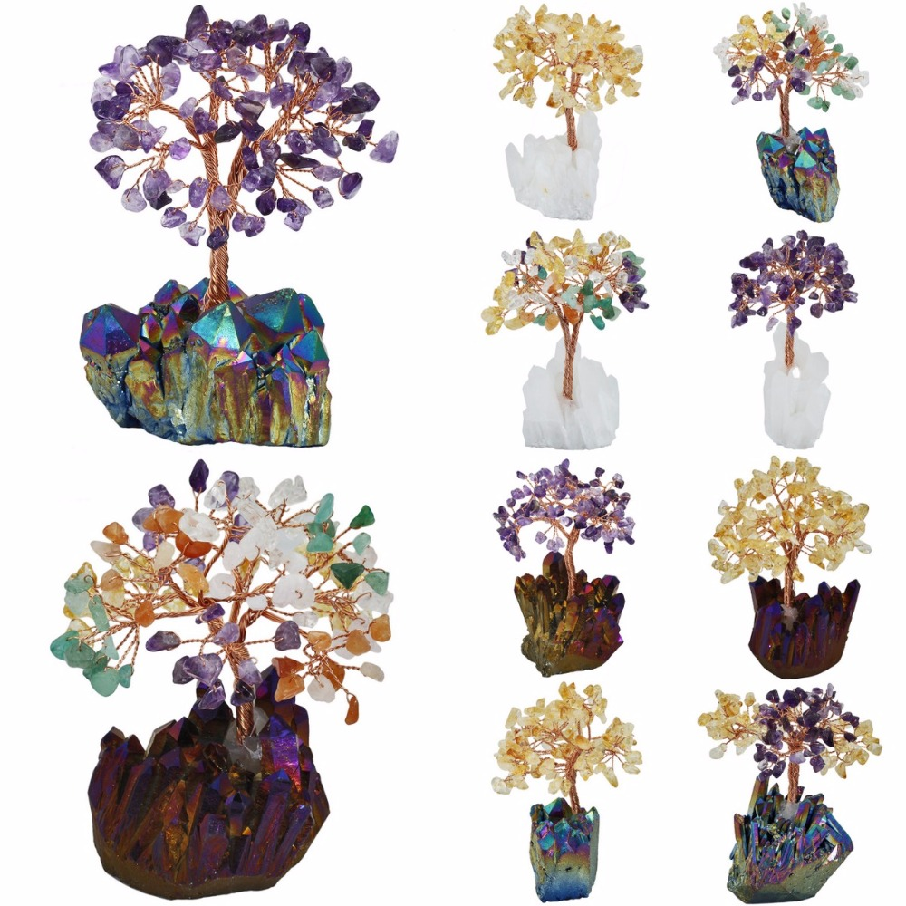 TUMBEELLUWA Natural Amethyst Citrine Money Tree,Aura Titanium Coated Crystal Cluster Base Bonsai Sculpture Figurine 4 Inch