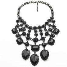 Luxurious Black Multi-layer Crystal Tassel Necklace Clavicle Chain Rhinestone Necklace Boutique Necklace цена