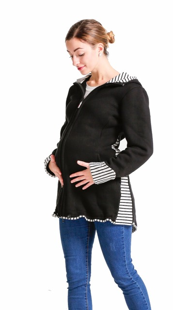 3in1 Babywearing coat, baby carrier jacket, pregnancy apparel, maternity, sweatshirt material, black, stripes Mom baby jacket