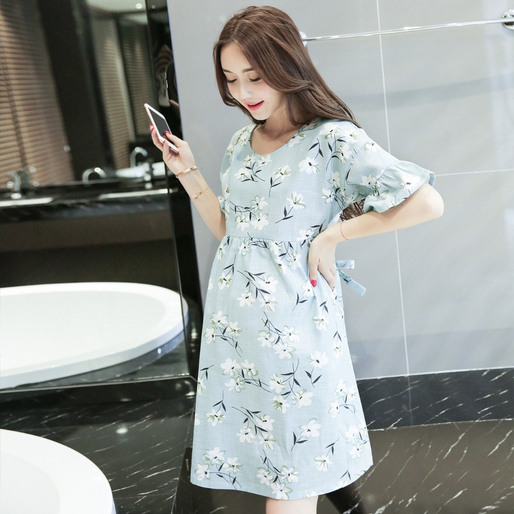 2017 summer new maternity clothes Korean version of the maternity dress Fashion loose short-sleeved halter maternity dress