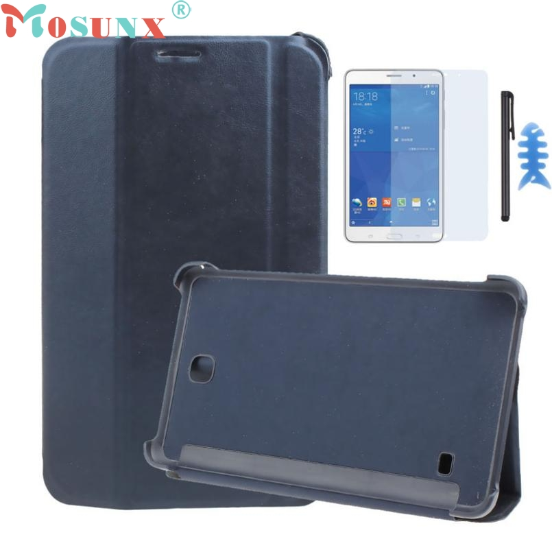 ecosin2Leather Case Stand Cover For Samsung Galaxy Tab 4 7Inch Tablet SM-T230 SM-T231+Film Pen Reel LJJ022017mar23 case for samsung galaxy tab a 9 7 t550 inch sm t555 tablet pu leather stand flip sm t550 p550 protective skin cover stylus pen