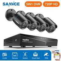 SANNCE 720P 4CH/8CH 5in1 HDMI DVR 1MP TVI Smart IR Bullet Outdoor Weatherproof Cameras Home Security Surveillance CCTV System