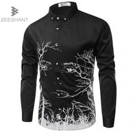 ZEESHANT 남성 셔츠 2018 새로운 도착 패션 캐주얼 스타일 긴 소매 3D 인쇄 슬림 맞는 드레스 남성 프랑스어 셔츠