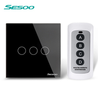 EU UK SESOO Remote Control Switches 3 Gang 1 Way Wireless Remote Control Wall Touch Switch