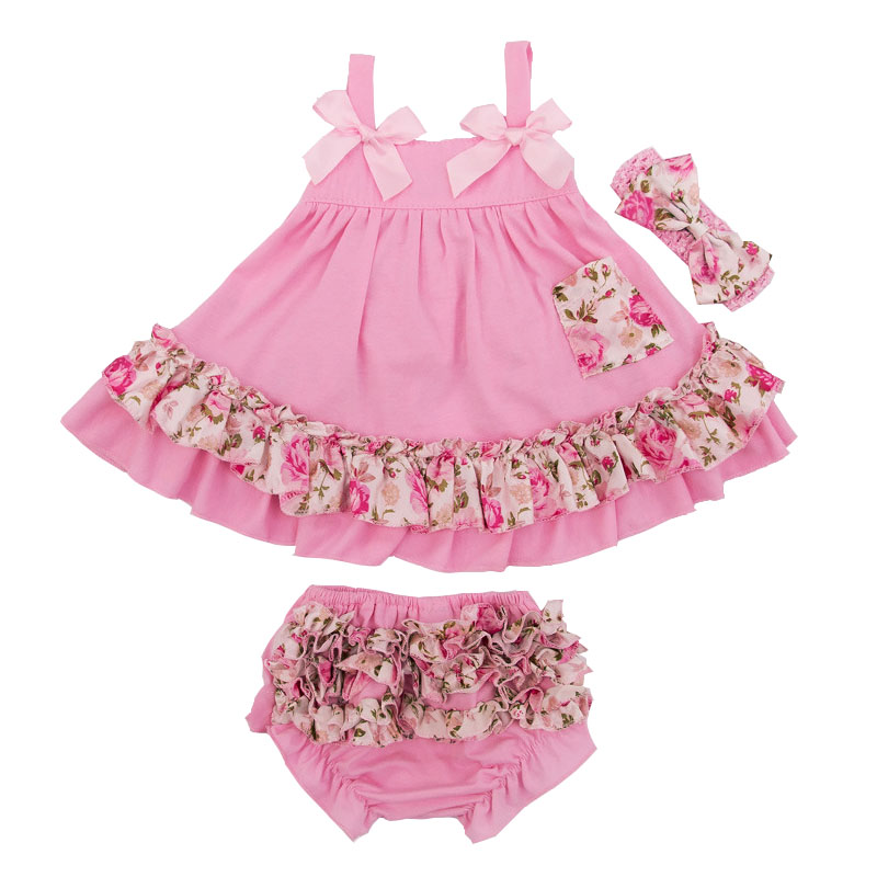 Newborn Ruffles Bloomers Girl Short Baby Clothing Set 2017 Summer Style Bloomer+Sling Bat Shirt Infant 0-24 Months Girls Clothes cute newborn infant baby girl clothes set girls romper letter printed bodysuit floral tutu skirted bloomers short outfit sunsuit