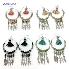 2016 new bohemian style earrings beads fringe dangle earrings crystal beaded cotton tassel earrings crystal chandelier earrings faux crystal filigree chandelier earrings