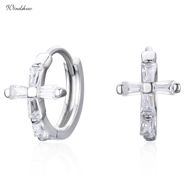 Cz Cross 925 Sterling Silver Circles Small Loops Huggies Hoop Earrings For Women Jewelry Kids S