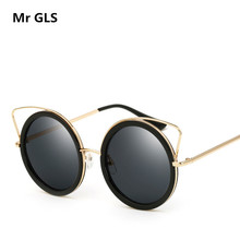 Brand Designer 2017 New Unique Women Sunglasses Metal Alloy Frame HD Polarized Eyeglasses Fashion Cat Eye Sun Glasses UV400 x18