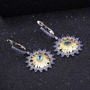 Image 3 - GEMS bale 2.2Ct doğal İsviçre mavi Topaz takı 925 ayar gümüş el yapımı ayçiçeği yüzük küpe takı kadınlar için setleri