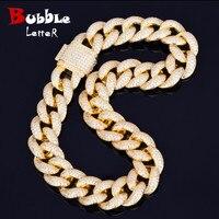 Men's 23mm Heavy Miami Cuban Link Necklace Choker Iced AAA Zircon Hip hop Rock Jewelry Gold Silver Chain 18 20