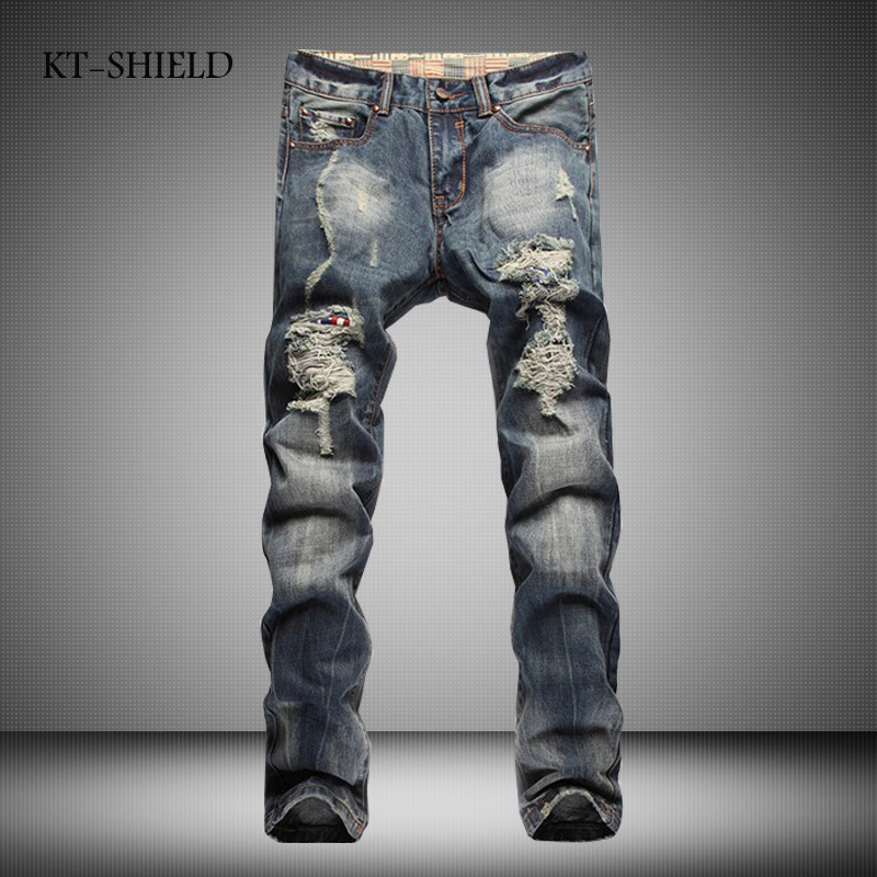 High Quality Mens Ripped Biker Jeans 100% Cotton Blue Slim Fit Motorcycle Jeans Men brand Vintage Distressed denim overalls men new style skinny biker jeans for men autumn winter motorcycle ripped mens jeans famous brand slim distressed blue denim overalls