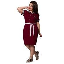 Big Size Dresses for Women Short Sleeve Polo Dress Shirt Plus Size Women Clothing Fat MM 6xl Office Dress Robe Femme Vestidos