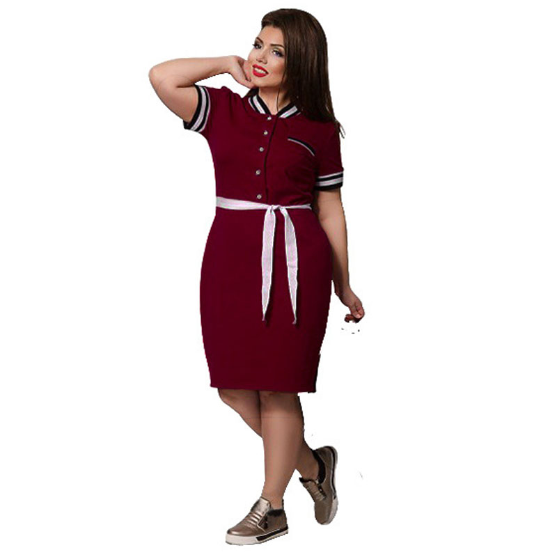 Big Size Dresses for Women Short Sleeve Polo Dress Shirt ...