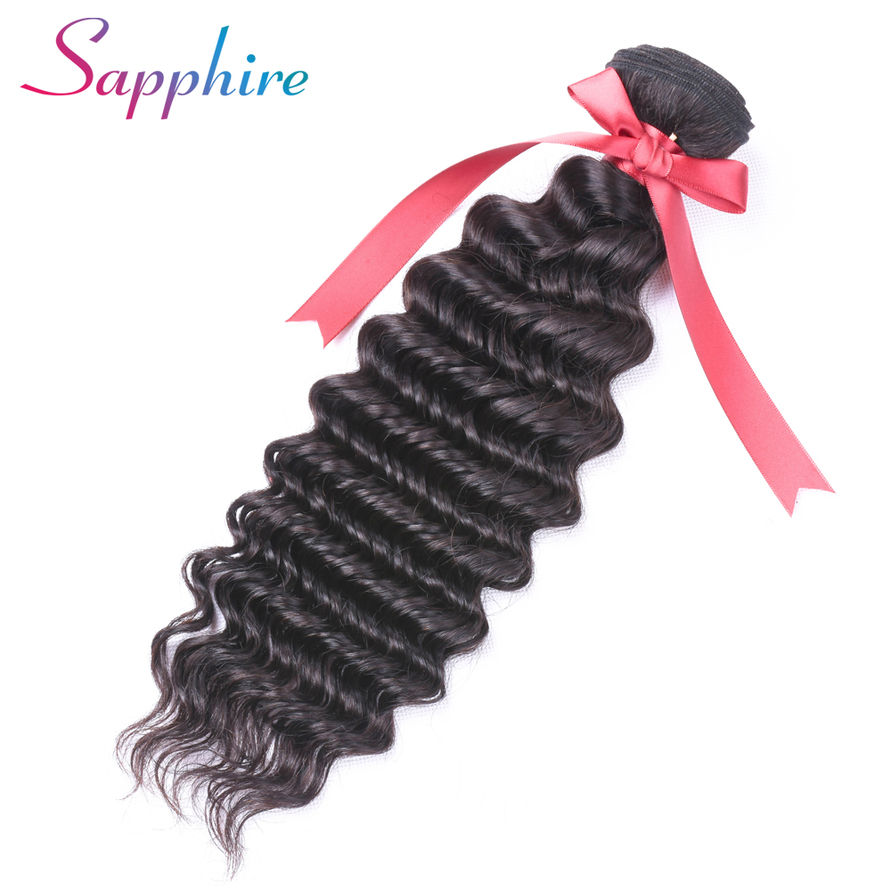 Sapphire Brazilian Deep Wave 1 Bundle 100% Non Remy Human Hair Extension Weave Natural Color Free Shipping