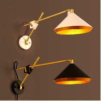Black/White Vintage Loft Wall industrial Lamp American Country Retro Adjustable Wall Light Bedside Reading Study Living Room E27