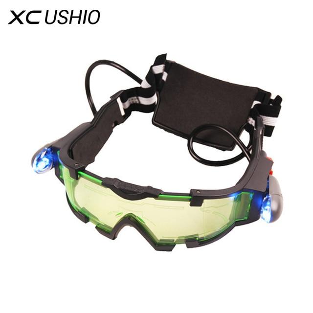 eac293c974aa4 Escudo olho Caça Óculos de Visão Noturna Óculos de Visão Noturna Verde  Luzes LED Ergonômico Ajustável