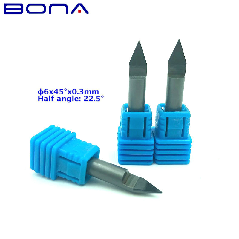 Higher Precision 3pcs 6MM 45 Degree 0 3MM PCD CNC Carving Tools Diamond Router Bits Stone