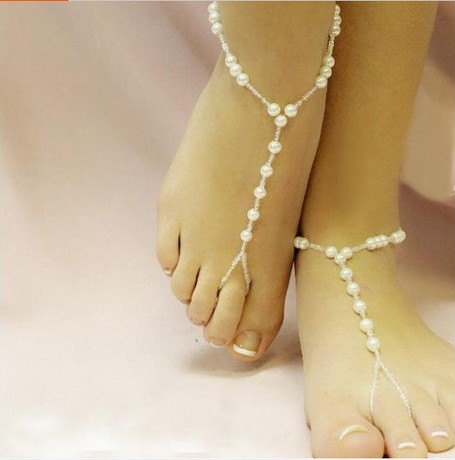 Fashion Personality Pearl Accessories Anklets of Hand Made Bare Foot Sandal Bridal & Beach Jewellery Anklet