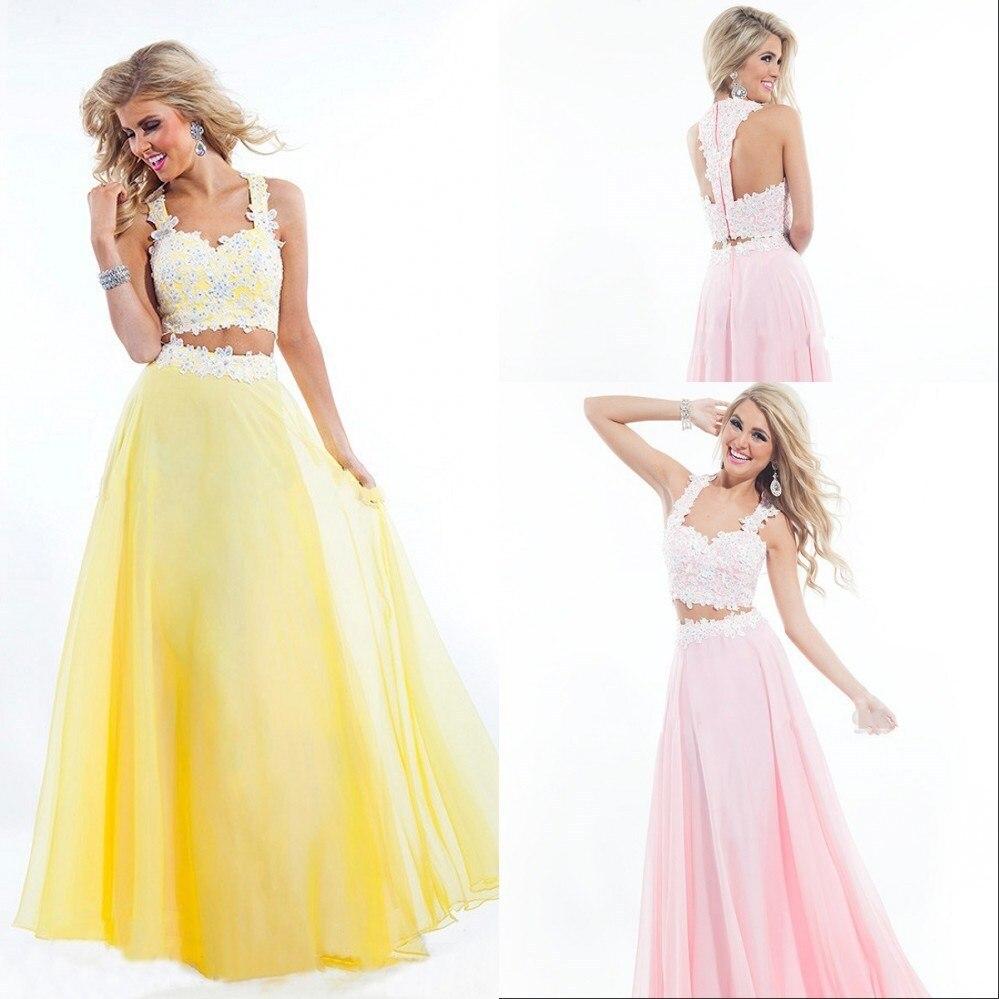 gala jurken robe de soiree vestido de festa longo Chiffon Long Lace Pink Two Piece   Prom     Dresses   2019 vestidos de gala   prom     dress