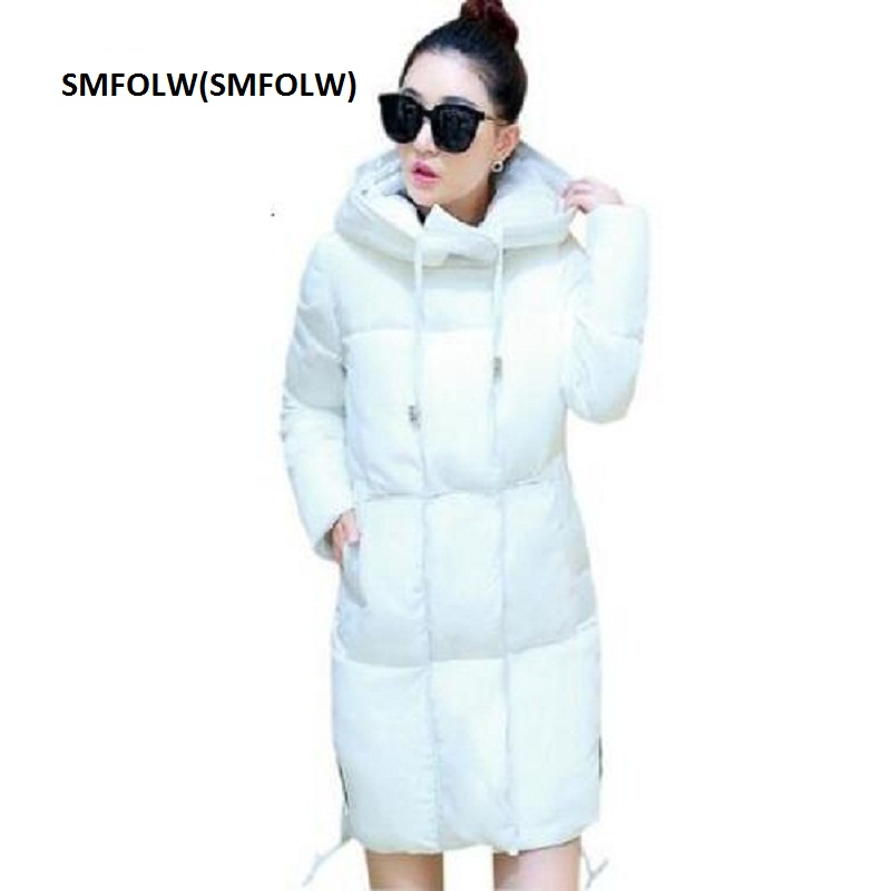 SMFOLW White Winter Coat Women 2017 Hot Sale Long Down Parka Fashion Students Slim Female Clothing Plus Size S-3XL Thick Jackets