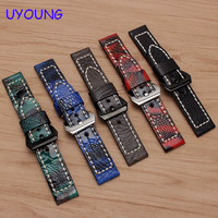 UYOUNG watchband quality genuine leather bracelet 20mm 22mm 24mm 26mm ostrich foot wristband