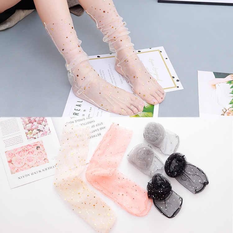 Calcetines sexis de malla de encaje de red de fibra mixta de elasticidad transparente de tobillo hilo de red fino para mujer Calcetines frescos 1 par = 2 piezas tt093