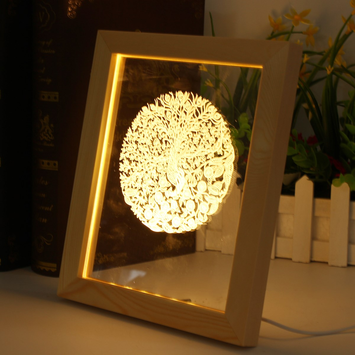 wooden peacock 3d photo frame illuminative led night light home room table desktop decorative floating frame