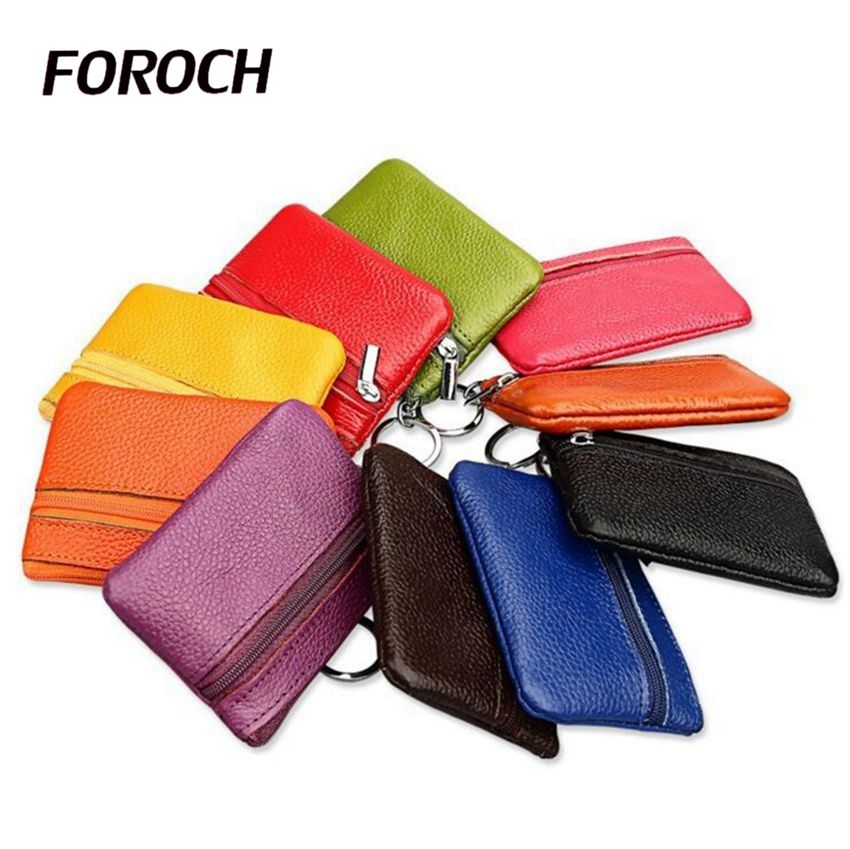 FOROCH Women Mini Bag Female Coin Purse Small Wallet 100% Genuine Leather Lady Coin Purses Holders Girls Change Purse Wallet 46 drinks women coin purse novel style pu leather cute cartoon coin case female mini wallet girls small purses card holders