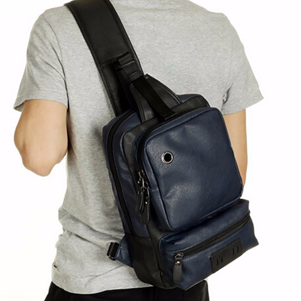 New Arrival Men PU Leather Crossbody Bags Fashion Design Messenger Chest Day Back Pack Large Capacity Sling Shoulder Rucksack