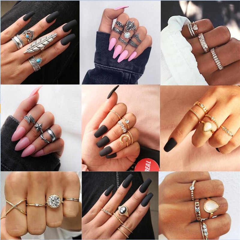 3-12Pcs/Set Fashion Vintage Ring Set Femme Stone Silver gold Midi Finger Rings Boho Women Jewelry Knuckle Ring Set Jewelry Gift