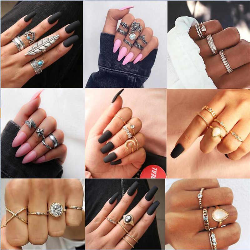 3-12 ชิ้น/เซ็ตแฟชั่น Vintage แหวนชุด Femme หินเงินทอง Midi Finger แหวน Boho ผู้หญิงเครื่องประดับแหวนชุดของขวัญเครื่องประดับ