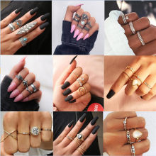 3-12Pcs/Set Fashion Vintage Ring Set Femme Stone Silver gold Midi Finger Rings Boho Women Jewelry Knuckle Ring Set Jewelry Gift(China)