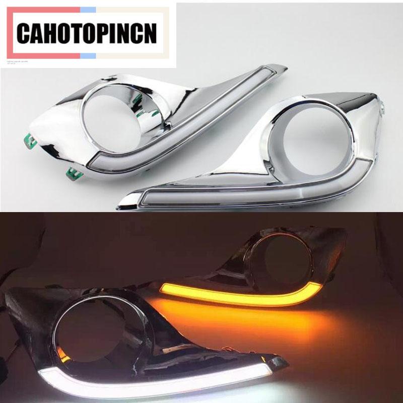 Prix pour Étanche et Clignotants style Relais 12 v LED VOITURE DRL feux de jour feux avec trou de feu de brouillard pour Toyota highlander 2012 2013