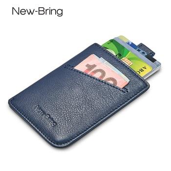 NewBring Slim Leather Wallet Men Credit Card & ID Holders Compact Mini Purse Cash Women Card Holder Sleeve Purse Blue Black 1