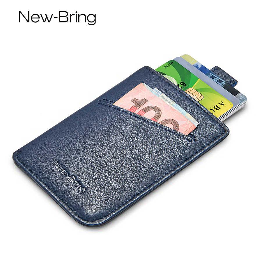 NewBring Slim Leather Wallet Men Credit Card & ID Holders Compact Mini Purse Cash Women Card Holder Sleeve Purse Blue Black