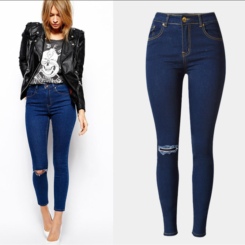 fashion high waist pencil pants skinny jeans woman ripped