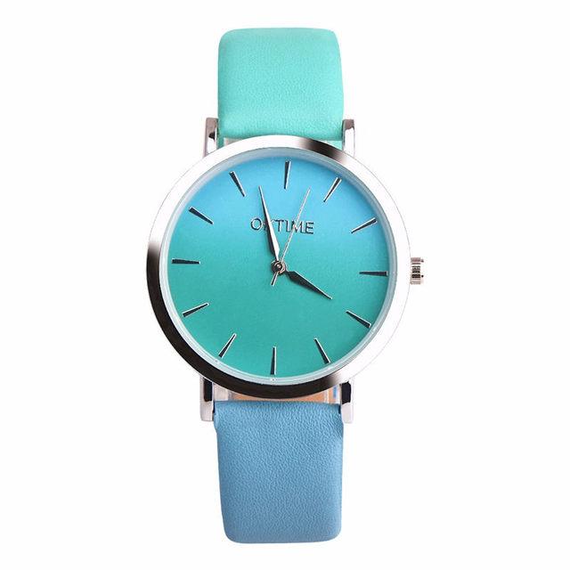 Reloj de pulsera de moda diseño Retro de arcoíris para mujer de Cuero de cuarzo
