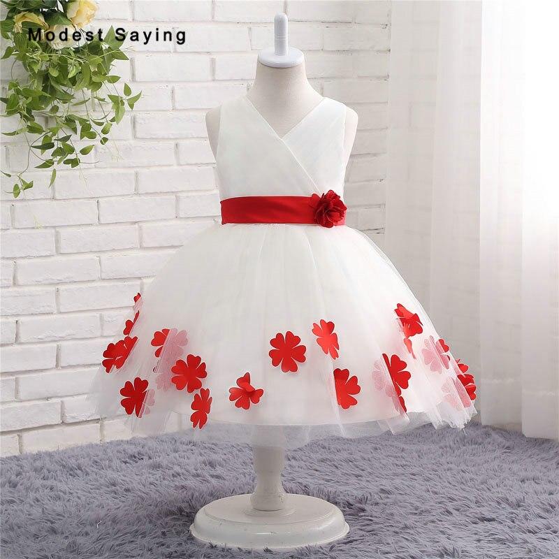Pétales rouges esprit fleur fille robes 2017 avec grand arc robe de bal genou longueur mariage robes de reconstitution historique pour les petites filles enfants bébé