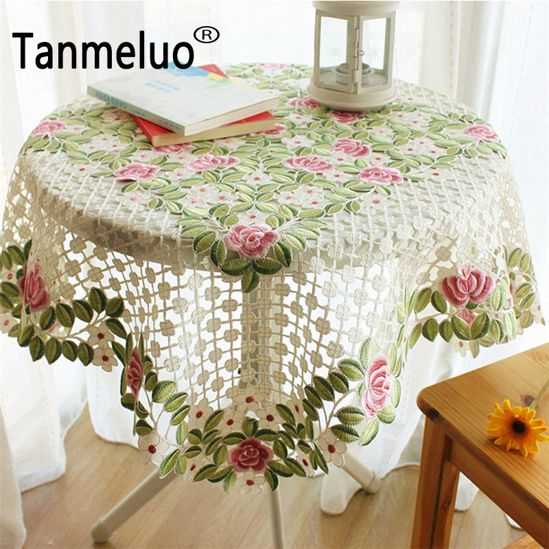 85 85cm floral embroidered table cover round cloth tea for Round table 85 ortenau