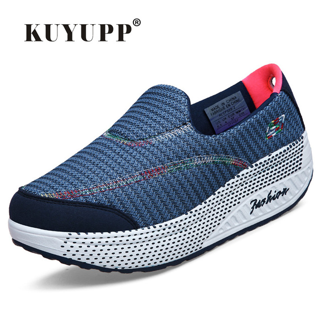 KUYUPP 2016 Autumn Platform Wedges Women Casual Shoes zapatos mujer Sport Breathable Low Top Trainers Flat Platform Shoes YD110
